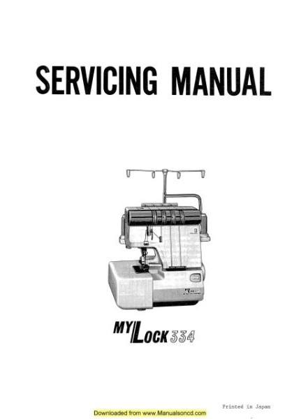 Janome 334 Sewing Machine Service Manual