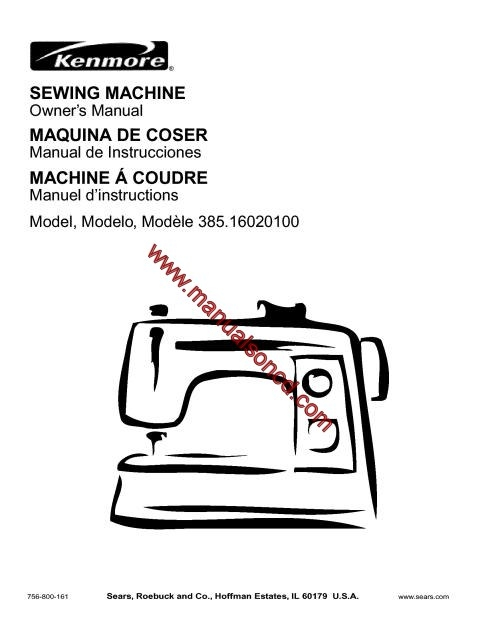 Kenmore model sewing machine manual for Machine a coudre kenmore modele 385
