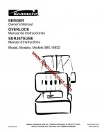 Kenmore Serger 385.16655100 Sewing Instruction Manual Overlock