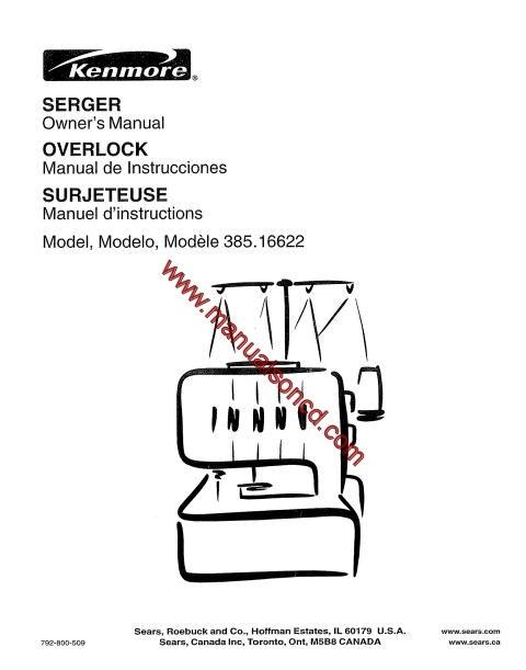 Kenmore Serger 385 16655100 Sewing Instruction Manual Overlock
