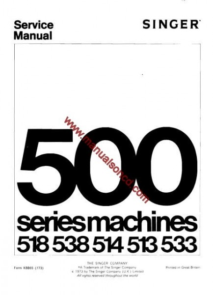 singer 500 sewing machine service manual 518  538  513  514  533