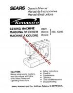 Kenmore Model 385.12216 Sewing Machine Manual 12216