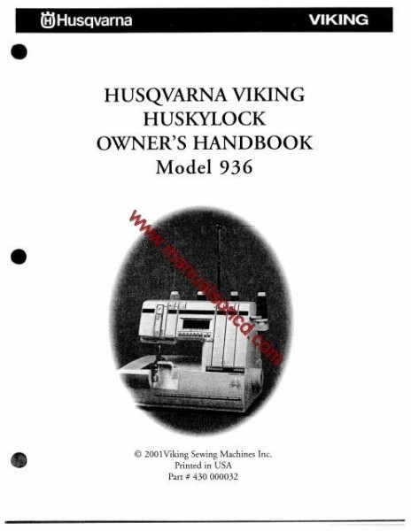 Husqvarna Viking HuskyLock Owners Handbook Model 936 1