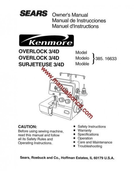Kenmore Model 385.16633 OverLock Sewing Machine Manual