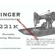 Singer Featherweight 221K Sewing Machine Manual