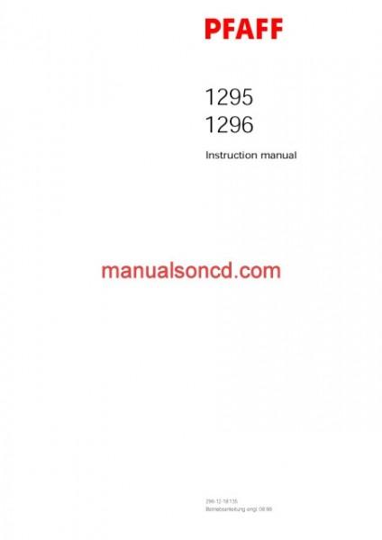Pfaff 1295 And Pfaff 1296 Sewing Machine Instruction/Owners Manual
