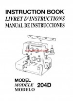Janome 204D Serger Sewing Machine Instruction/Owners Manual Pdf