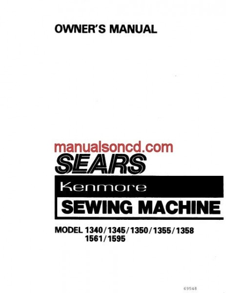 Kenmore Model 158.1340, 1345, 1350, 1355, 1358, 1561, 1595 Manual