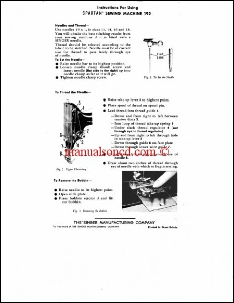 Singer Spartan 192 Instruction Owners Manual