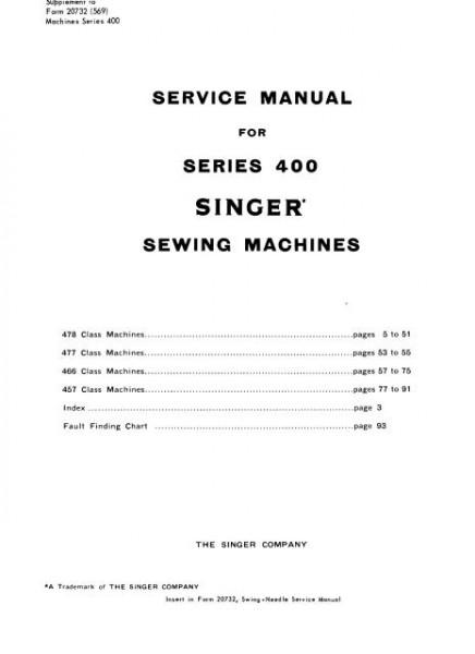Singer 400 Series Service And Repair Sewing Machine Manual