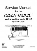 Singer 2010A Touch-Tronic Service Manual Sewing Machine