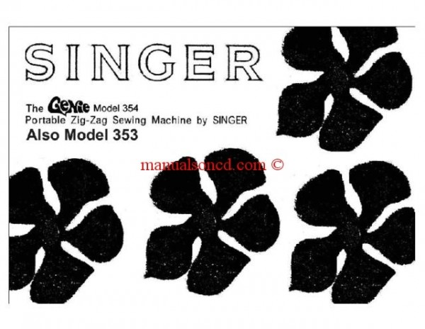 Singer Genie Model 353 354 Sewing Machine Owners And Instruction Manual