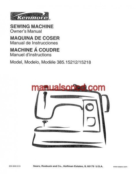 Kenmore Model 385.15212 - 15218 Series Sewing Instruction Manual