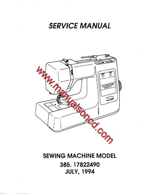 Kenmore model sewing machine service manual for Machine a coudre kenmore modele 385