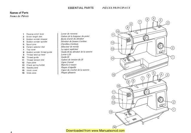 Janome 105 106 Sewing Machine Instruction Manual