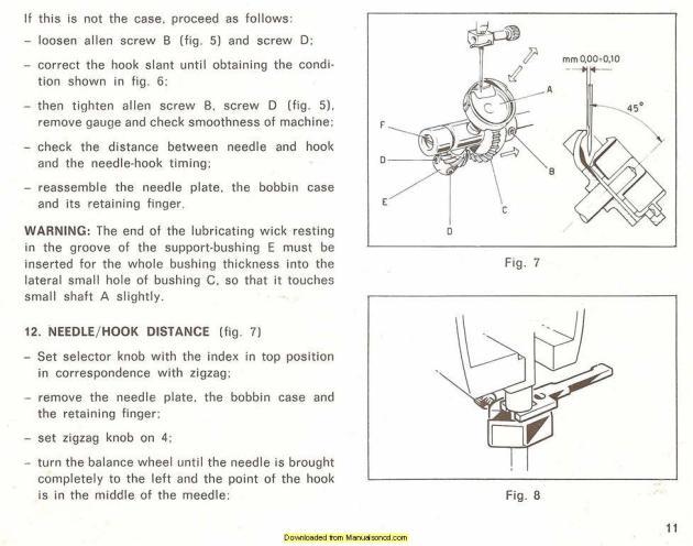 Necchi Silvia 582 - 584 - 586 Sewing Machine Service Manual on