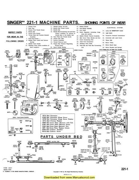 Singer 221 Sewing Machine Service Manual