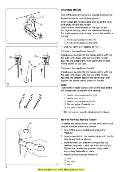 Janome 213D Sewing Machine Instruction Manual