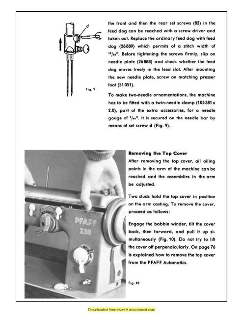 pfaff 230 332 automatic sewing machine service manual rh manualsoncd com Pfaff Sewing Machine Parts pfaff service manuals
