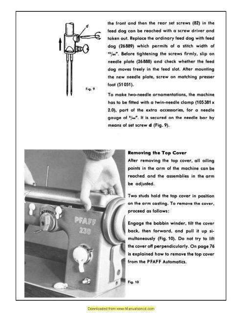 pfaff 230 332 automatic sewing machine service manual