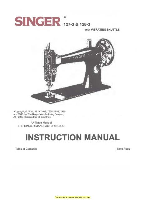 Singer Sewing Machine Service Manual Free Download Manuals Library Impressive Singer Sewing Machine Manual Free Download