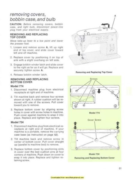 Singer 774 - 734 Sewing Machine Instruction Manual