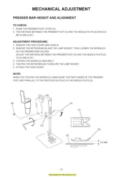 Necchi EV7 Sewing Machine Service Manual