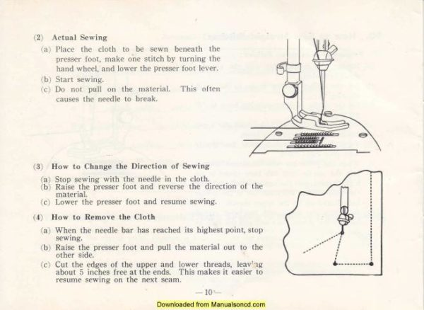 Belvedere Sewing Machine Instruction Manual