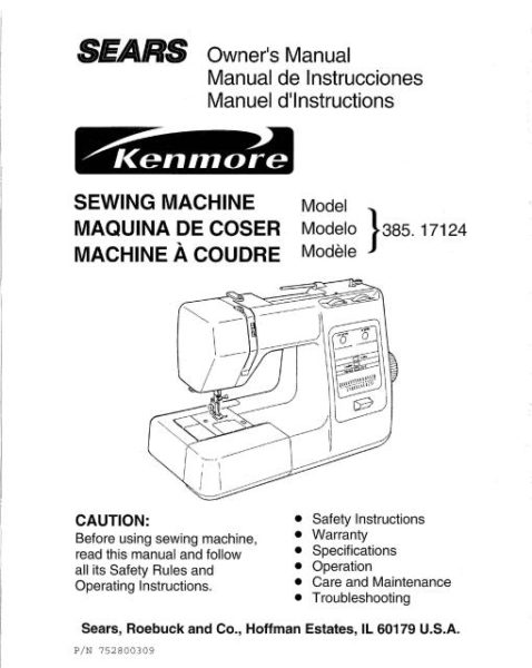 Kenmore 385.17124 Sewing Machine Instruction Manual