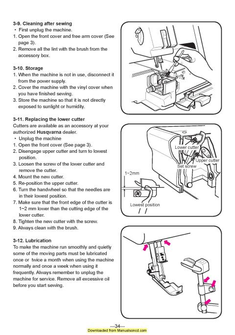 Husqvarna Huskylock 905 910 Sewing Machine Instruction Manual