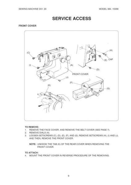 Kenmore 385.15358 Sewing Machine Service Manual