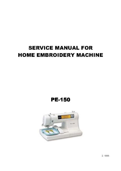 Brother Pe 150 Embroidery Sewing Machine Service Manual