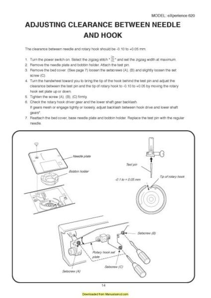 Elna 620 eXperience Sewing Machine Service-Parts Manual