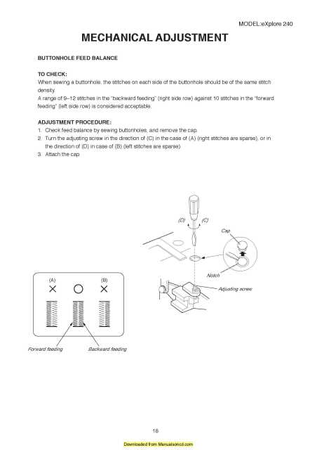 Elna 240 Explore Sewing Machine Service Manual