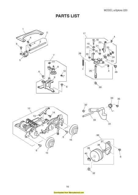 Elna 220 Explore Sewing Machine Service Parts Manual
