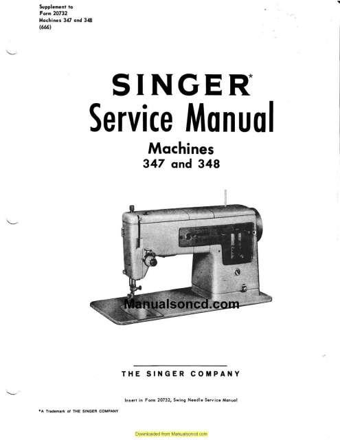 Singer 347-348 Sewing Machine Service Manual