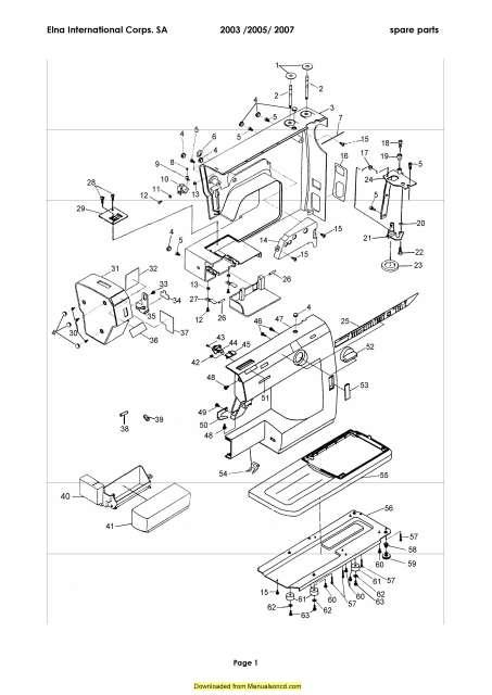 Elna 2003 2005 2007 Sewing Machine Service Parts Manual