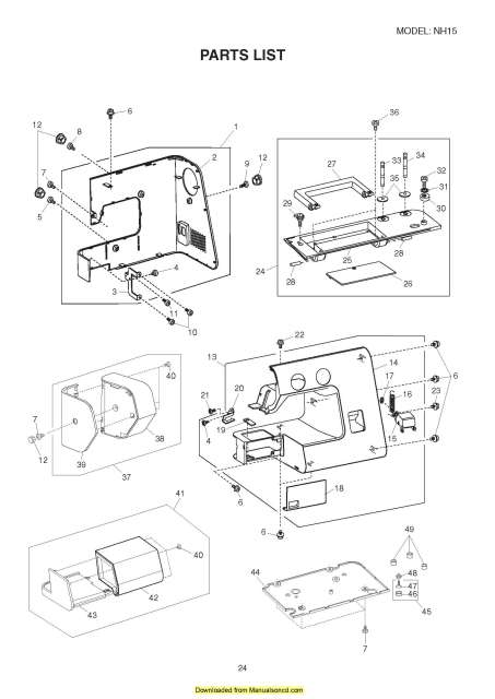 New Home Nh15 Sewing Machine Service Parts Manual