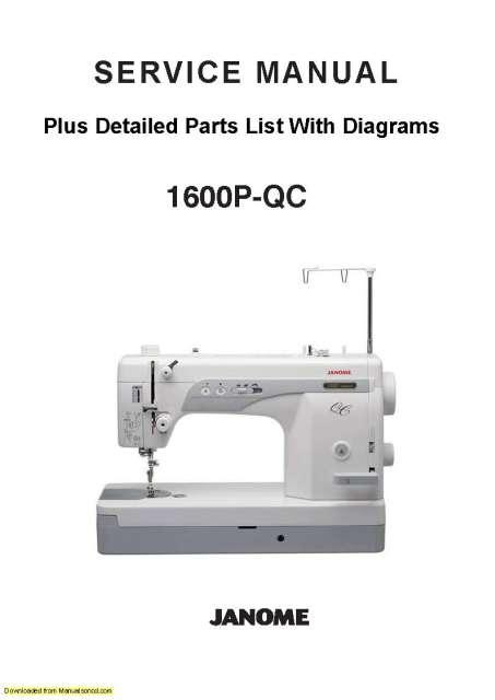 Janome 1600P-QC Sewing Machine Service-Parts Manual