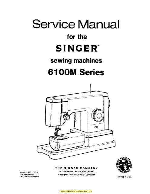 Special Ad Singer 6100 6106 Series Sewing Machine Service Manual
