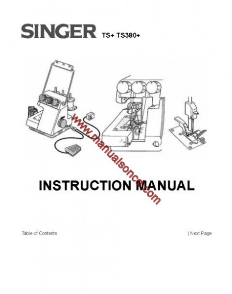 Singer TS+ TS380+ Sewing Machine Manual Instruction/Owners