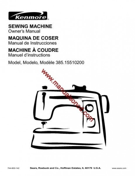 Sears Kenmore 385.155102 Sewing Machine Instruction Manual