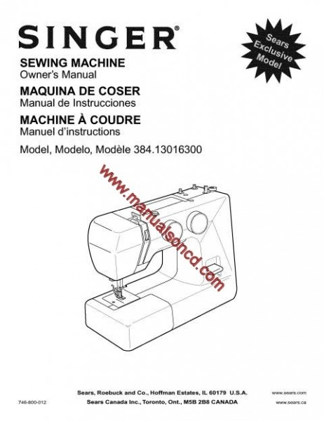 Singer - Kenmore 384.13016300 Sewing Machine Instruction Manual