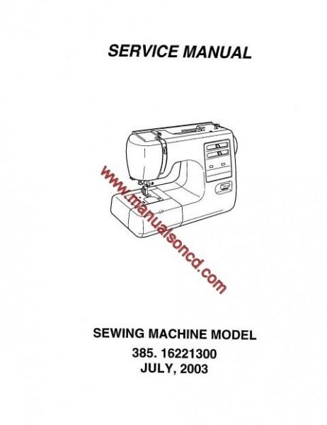 Kenmore Model 385.16221300 Sewing Machine Service Manual