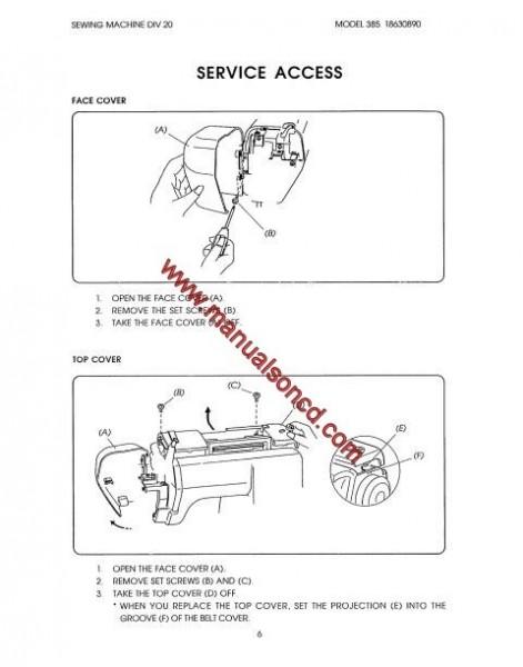 Kenmore Service Manual Model 385.18630890 Sewing Machine