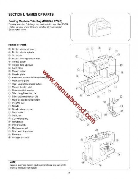 Kenmore Model 385.19112 Sewing Machine Instruction Manual