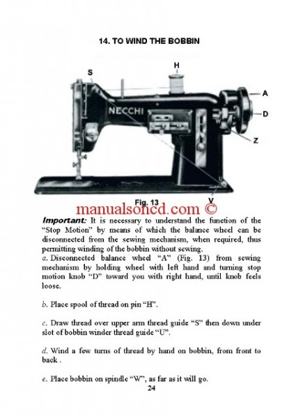 Necchi Bu Sewing Machine Instruction Manual