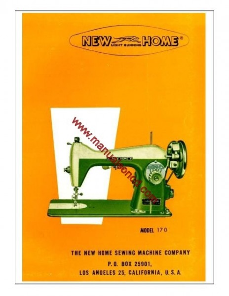 New Home Model 170 Sewing Machine Instruction Manual