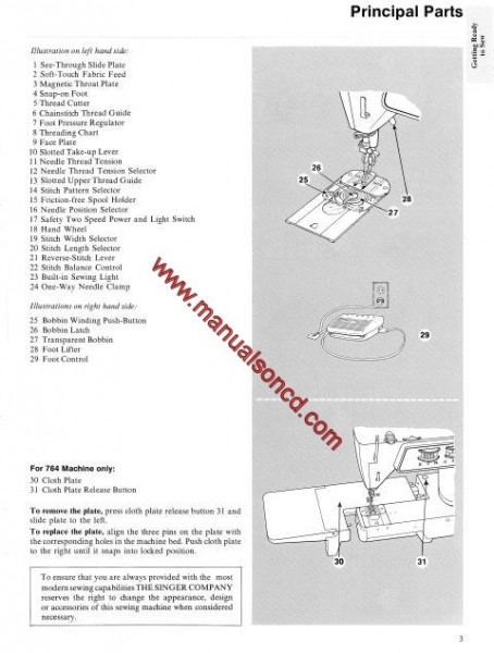 Singer 764 Sewing Machine Instruction Manual