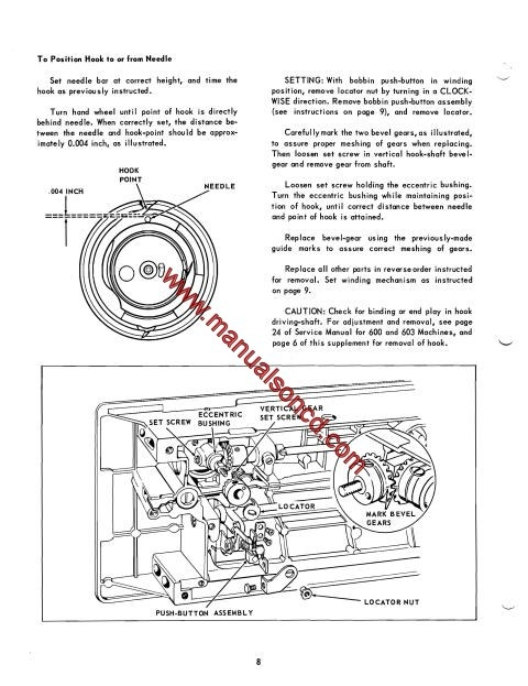 Singer 626 Sewing Machine Service Manual